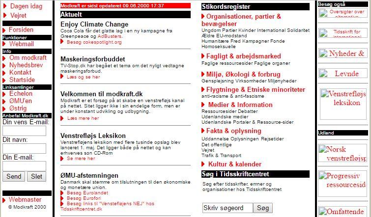 Screendump af modkraft.dk, juni 2000